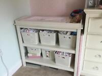 Cream wooden changing table, Solid