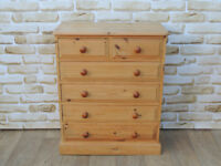 Pine Chest of Drawers 76cm wide Compact width (Delivery)