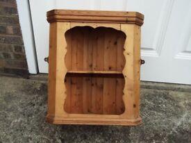 Pine wall mounted corner shelf