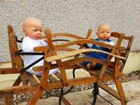 Antique French toddlers wooden double garden seat