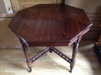 Dining Table octagonal / Lg side table 90 cm wide all in beautiful condition - Macclesfield Cheshire