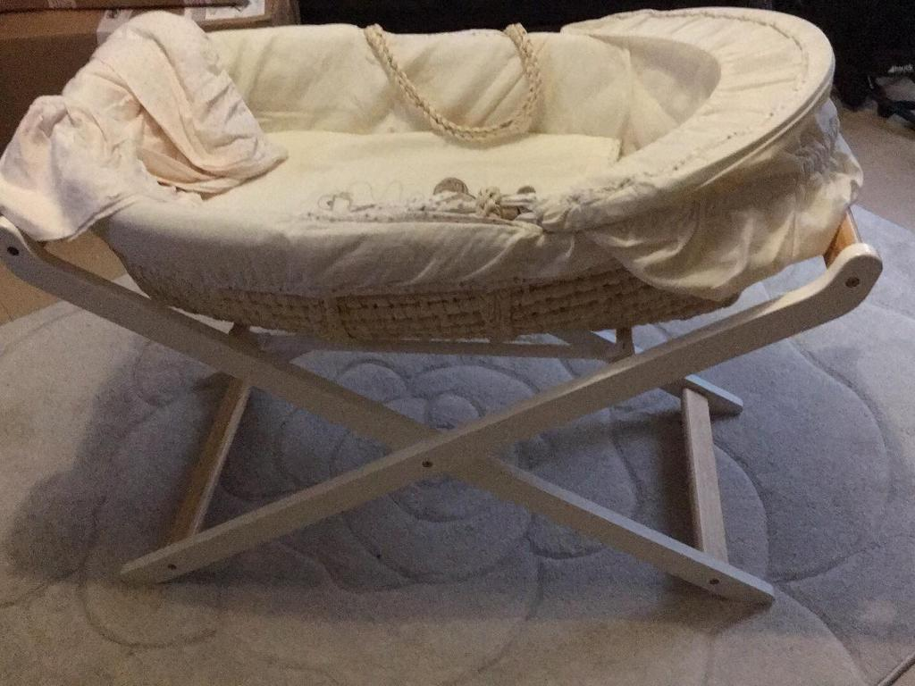 Mothercare Moses Basket with stand & fitted sheets