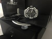 MENS HUBLOT ICED OUT BIG FACE DIAMOND WATCH NEW WITH BOX BOOKS CARDS TAGS