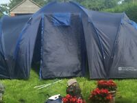 6 Man Tent, 3x 2 Man Pods, Used once, Full height communal area.