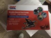 Double barrel foot pump
