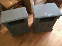 Solid pine bedside tables x2 with glass tops