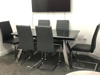 Paris Marble Effect Dining Table & 6 Chairs