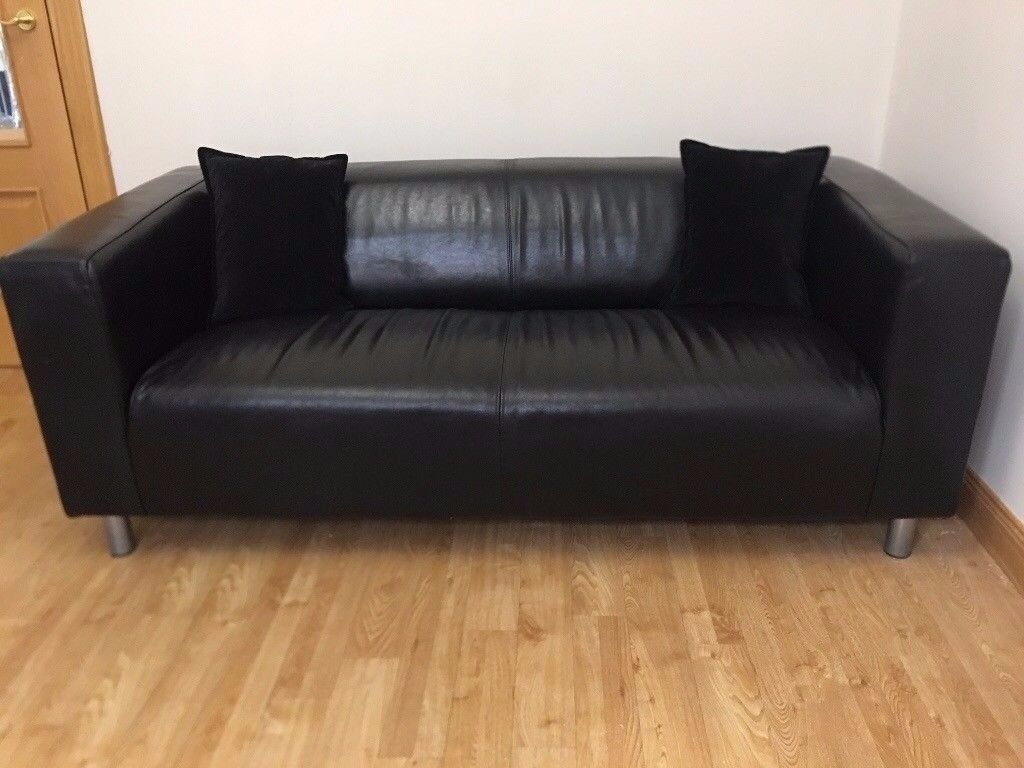 SOFA - Ikea \'Klippan\' Black Leather - Modern/Contemporary RRP£199! + FREE  Glass Table/Mag RackRRP£29 | in Newport | Gumtree