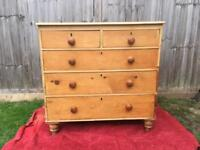 Victorian solid pine chest of drawers