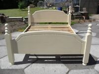 Shabby Chic Farmhouse Country Solid Pine Bed In Farrow & Ball Cream No 67