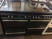 Black & green envoy 110cm gas cooker grill & double oven with guarantee bargain