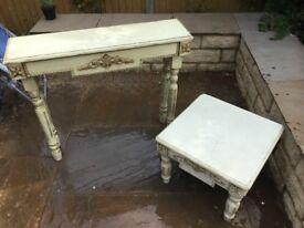Shabby chic coffee table and telephone table