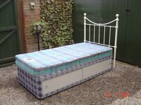 Single Divan Bed. With Storage Space in the Base. Mattress and Headboard Included. Can Deliver.