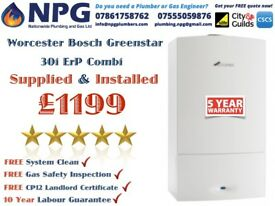Combi Boiler+SUPPLIED & FITTED+Worcester Bosch Greenstar 30i ErP=£1199 *Which Awards 2017*Leicester