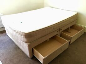 Double bed divan with drawers.