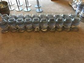 Decorated glass jars for tea lights