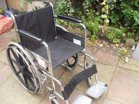 SELF PROPEL FOLDING WHEELCHAIR IN GOOD CONDITION HAS AMPLE 17/19 INCH SEAT