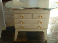 vintage little 50's dressing table / chest of drawers with a kidney shaped glass top