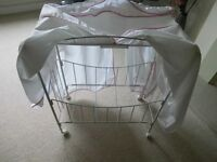 Childs Doll Four Poster Style Cot/Bed - Metal Frame with Canopy