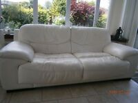 4 seater off- white leather sofa