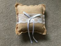 Hessian wedding ring cushion with ribbon and lace