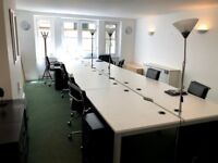 Office desks (bank of 4) white, good quality and good condition + 4 chairs + pedestals