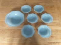 Blue Pyrex Sprayware Dessert Bowl Set