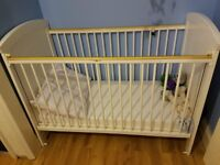 white cot with changing table for sale