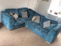 DFS teal corner sofa (sofa bed) armchair and matching beanbag.