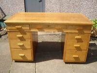 30s/40s Deco light oak pedestal desk