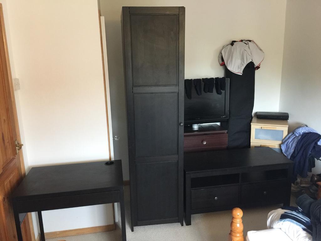 Set Of Ikea Hemnes Bedroom Furniture Wardrobe Tv Unit And Desk In