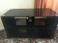 Black glass rectangular TV stand