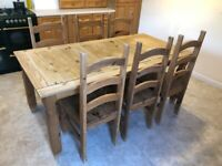 Solid wood dining/kitchen table and 6 chairs