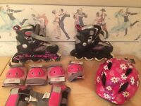 Inline skates helmet and protective pads