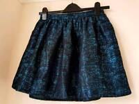 River Island Blue/ Black Crack Effect Skirt Size 8