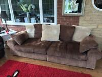 4 seater chenille brown sofa