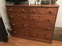 Very large tall pine chest of drawers