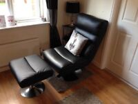 Black Swivel Chair & Footstool