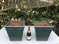 A PAIR OF VINTAGE GREEN GLAZED PLANTERS, LARGE SQUARE POTS, TERRACINO S.D.P, QUALITY HAND MADE