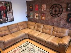 Tan numbuck leather corner sofa