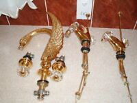 Gold plated Art Deco style swan spouted taps