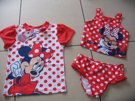Disney Minnie Mouse 3 piece tankini UPF 50+