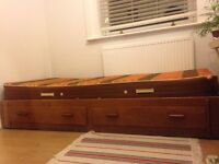 Single bed with drawers and mattress