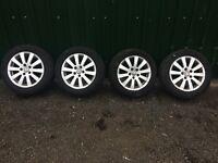 """Genuine 16"""" Volkswagen Alloy Wheels with Good tyres Ref.6"""