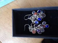 Lovely multi colored silver plated earrings.