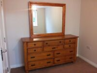 Solid wood dressing table / draws / unit with large mirror