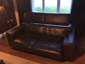 Two designer, dark brown, 3 seater leather sofas.