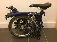 Brompton S2L 2013 folding bike. Blue