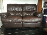 Genuine leather two seater reclining sofa