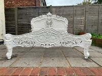 Masterpiece Rococo Hand Carved French Antique White 5FT King Bed Frame –– RRP £850